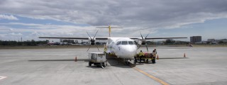 Front of plane at airport