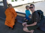 Checking out the riverfront with monk, Bangkok