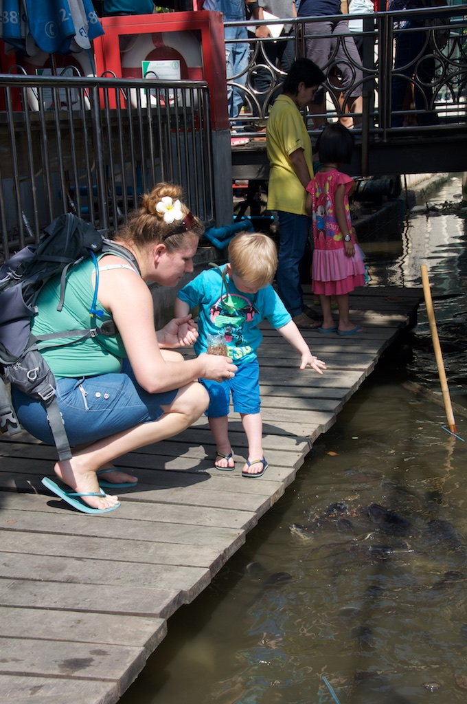 Feeding catfish at Taling Chan Floating Marketing, Bangkok