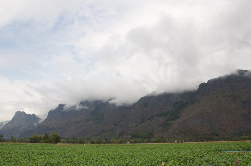 View of karst mountain with clouds near konglor Cave